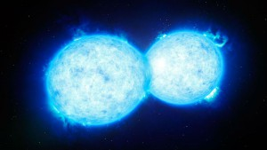 An artist's impression of the two stars getting intimate.(ESO/L. Calçada)