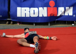 A picture of an Ironman participant on the ground. Credits: Nigel Roddis via www.bloomberg.com