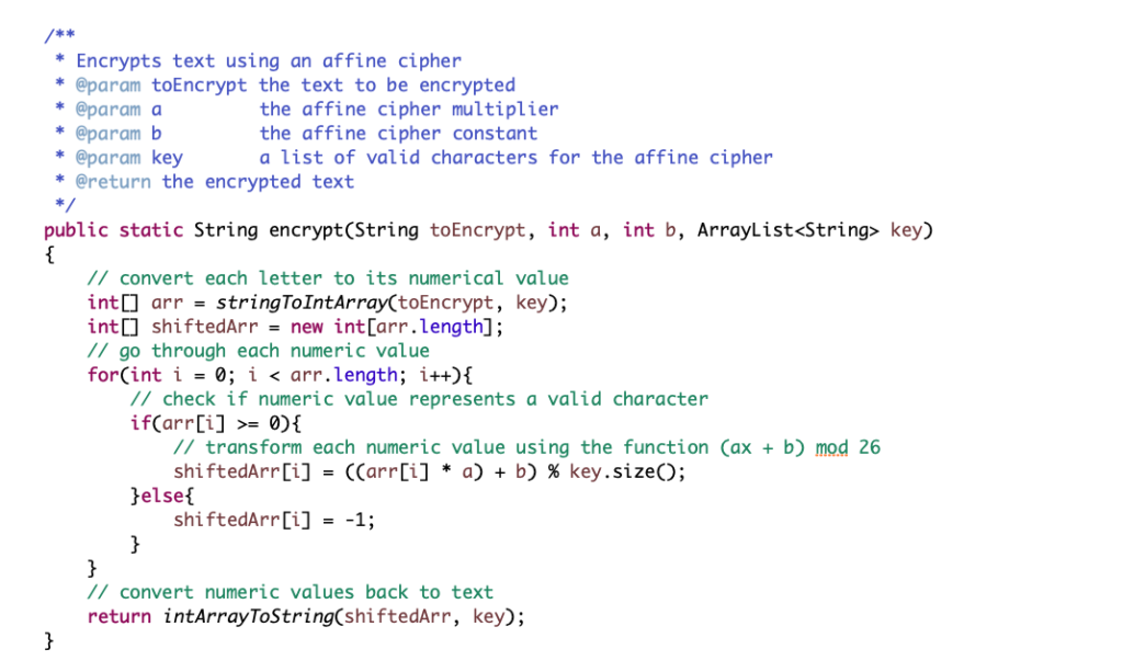 Affine Ciphers in Java - Future Science Leaders: Discover - Session B